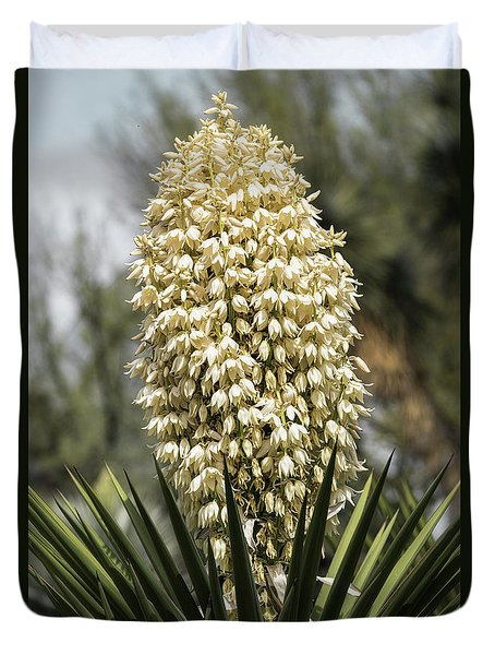 Duvet Cover featuring the photograph Yucca Flowers In Bloom  by Saija Lehtonen