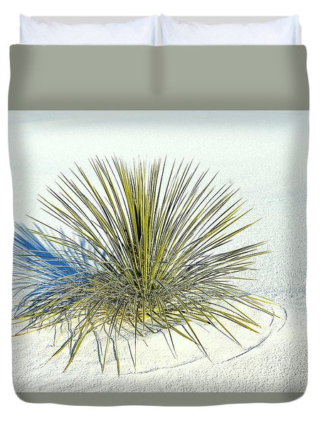 Duvet Cover featuring the photograph Yucca In White Sand by Jerry Cahill