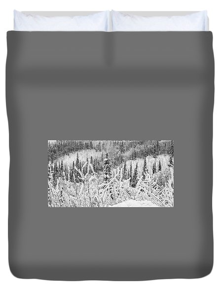 Duvet Cover featuring the photograph Yukon Snow Scene Black And White Contrast by Phyllis Spoor