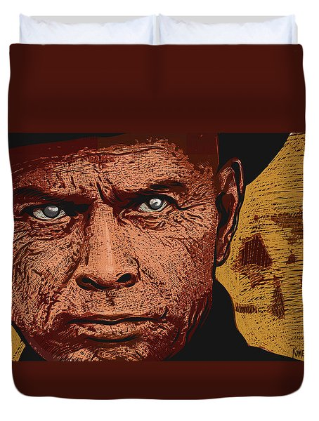 Duvet Cover featuring the digital art Yul Brynner by Antonio Romero