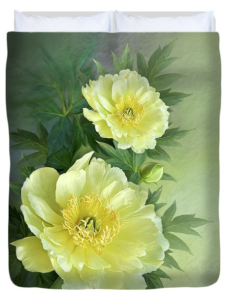 Duvet Cover featuring the digital art Yumi Itoh Peony by Thanh Thuy Nguyen
