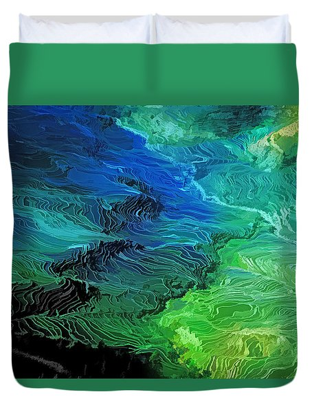 Duvet Cover featuring the photograph Yunnan Terraces by Dennis Cox WorldViews