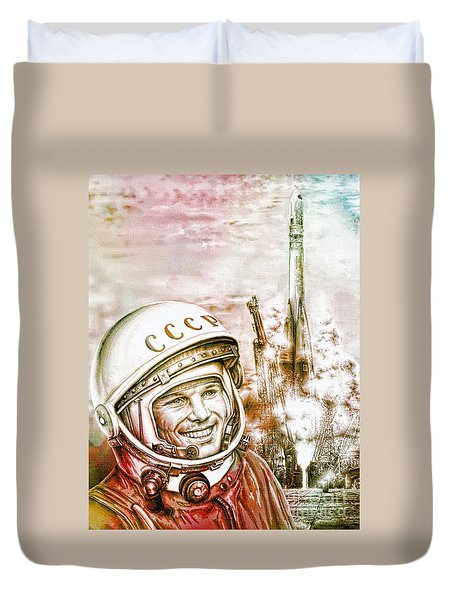 Yuri Gagarin - Cosmonaut 1961 Watercolor Duvet Cover