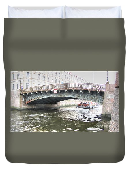 Duvet Cover featuring the pyrography Yury Bashkin Bridges Of St. Petersburg by Yury Bashkin
