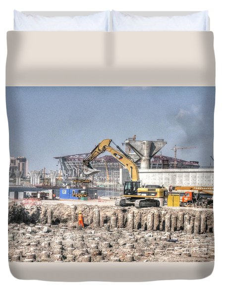 Duvet Cover featuring the pyrography Yury Bashkin Construction In St. Petersburg by Yury Bashkin