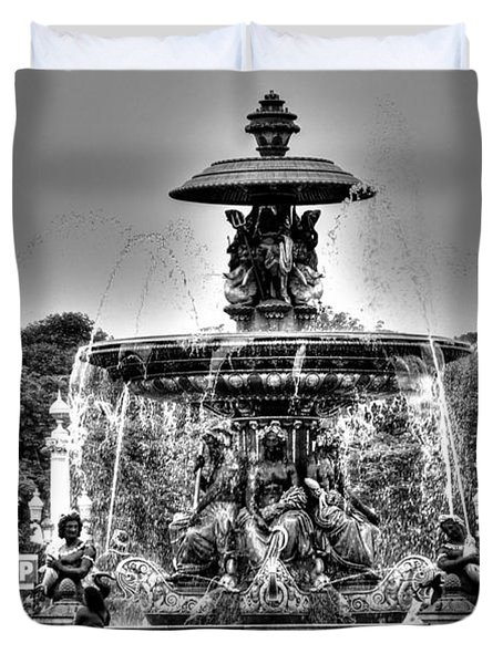 Duvet Cover featuring the pyrography Yury Bashkin Fountain Paris by Yury Bashkin