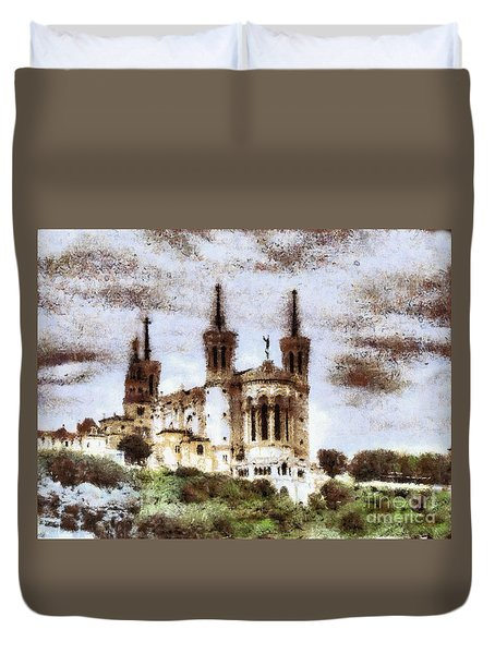 Duvet Cover featuring the drawing Yury Bashkin Old Castle by Yury Bashkin