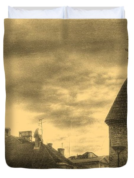 Duvet Cover featuring the mixed media Yury Bashkin Old Tallin by Yury Bashkin