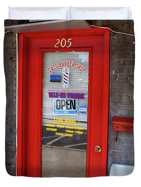 Zacs Barber Shop Duvet Cover by Paul Mashburn
