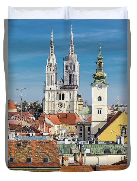 Zagreb Cathedral And St. Mary's Church Duvet Cover by Steven Richman