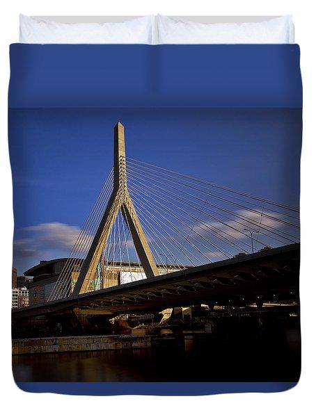 Zakim Bridge And Boston Garden At Sunset Duvet Cover by Rick Berk