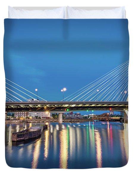 Zakim Bridge And Charles River At Dawn Duvet Cover
