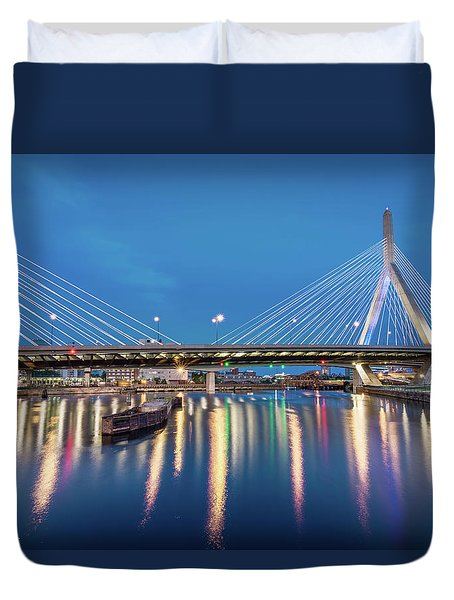 Zakim Bridge And Charles River At Dawn Duvet Cover
