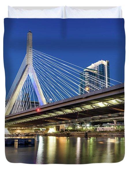 Zakim Bridge And Charles River Duvet Cover