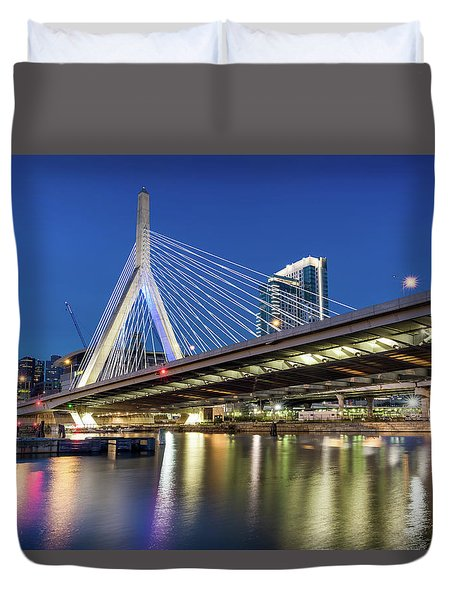 Zakim Bridge And Charles River Duvet Cover