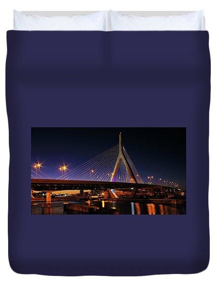 Zakim Bridge Boston Massachusetts At Night Duvet Cover by Betty Denise
