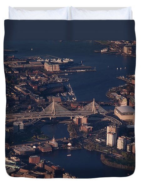 Duvet Cover featuring the photograph Zakim Bridge In Context by Rona Black