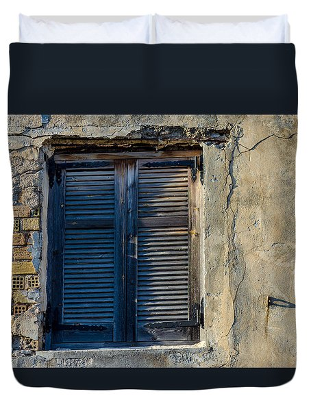 Zakynthos Town Window Duvet Cover