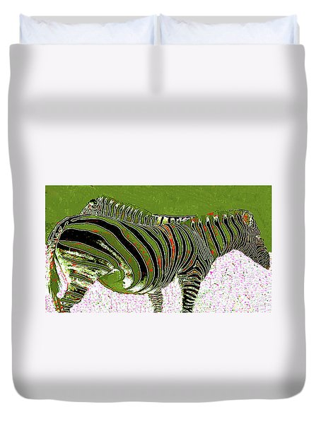 Duvet Cover featuring the photograph Zany Zebra - Digitally Modified Photograph by Merton Allen