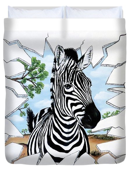 Duvet Cover featuring the painting Zany Zebra by Teresa Wing
