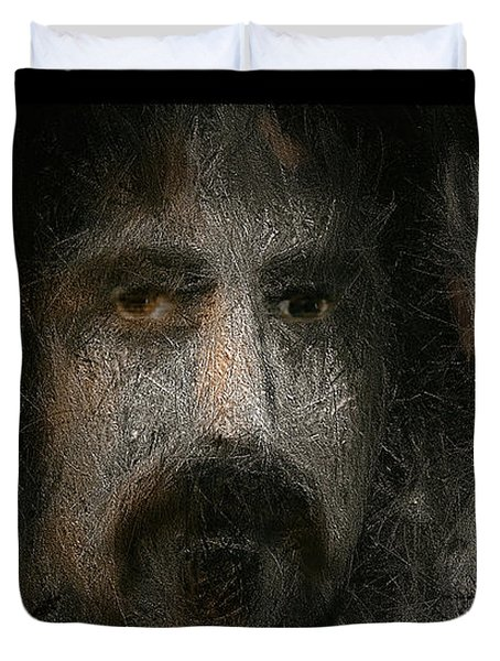 Duvet Cover featuring the painting Zappa-the Deathless Horsie by Michael Cleere
