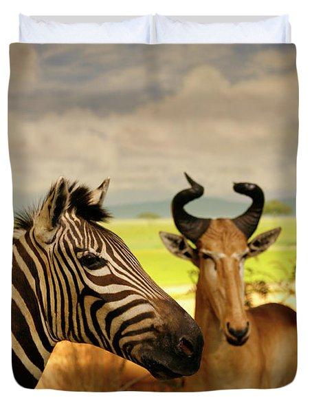 Zebra And Antelope Duvet Cover by Marilyn Hunt