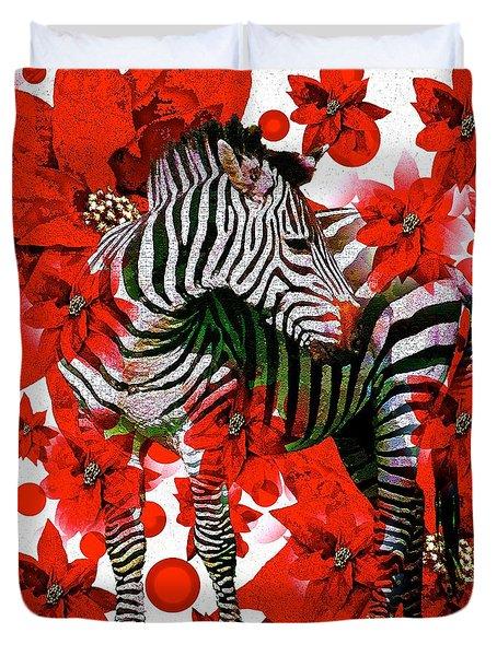 Zebra And Flowers Duvet Cover