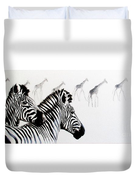 Zebra And Giraffe Duvet Cover