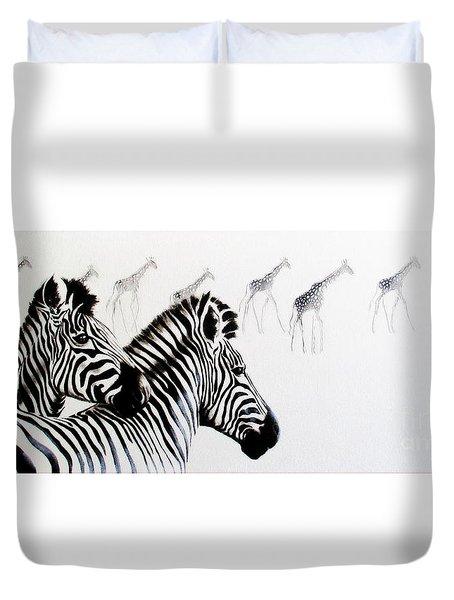Zebra And Giraffe Duvet Cover