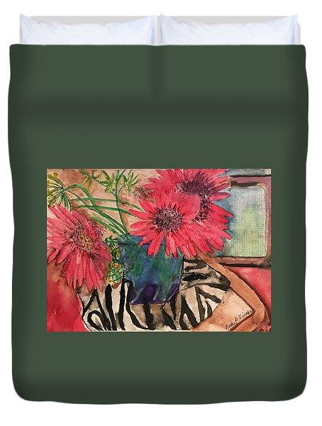 Zebra And Red Sunflowers  Duvet Cover