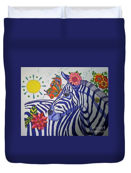 Zebra And Things Duvet Cover by Alison Caltrider