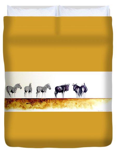 Zebra And Wildebeest Duvet Cover