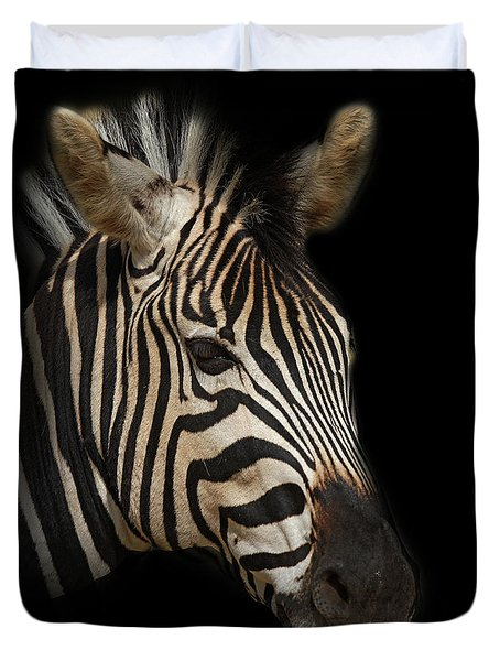 Zebra Duvet Cover by Barbara Dudzinska
