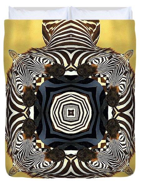 Zebra Cross Duvet Cover by Maria Watt