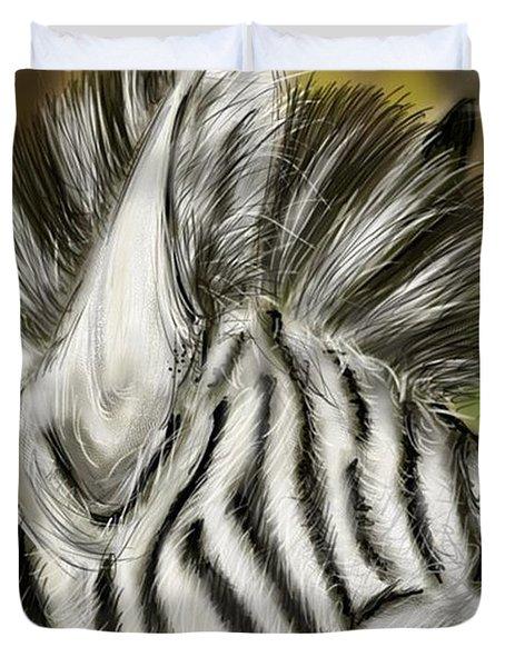 Duvet Cover featuring the digital art Zebra Digital by Darren Cannell