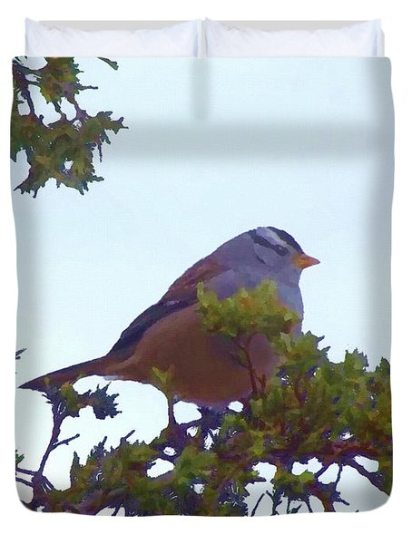 Duvet Cover featuring the digital art White Crowned Sparrow In Cedar by Shelli Fitzpatrick