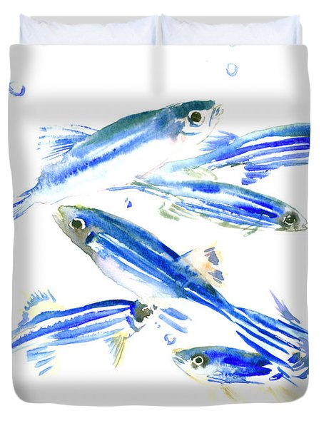 Zebra Fish, Danio Duvet Cover by Suren Nersisyan