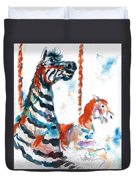 Zebra Gets A Ride The Ocean City Boardwalk Carousel Duvet Cover