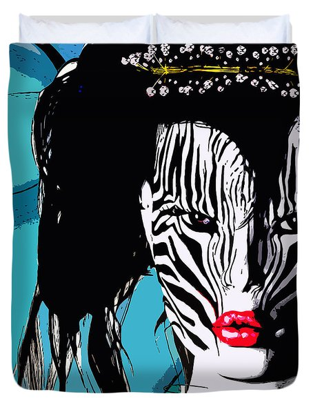 Zebra Girl Pop Art Duvet Cover