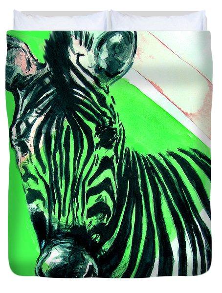 Zebra In Green Duvet Cover