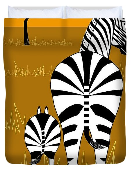 Zebra Mare With Baby Duvet Cover