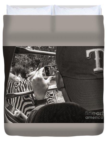Zebra Modeling Duvet Cover