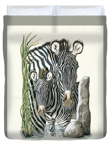 Zebra Mother And Colt Protect Our Children Painting Duvet Cover