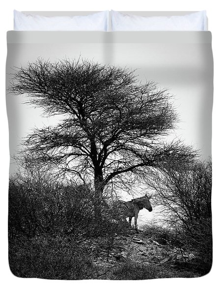 Duvet Cover featuring the photograph Zebra On A Hill  by Ernie Echols