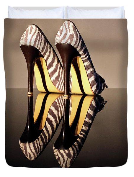 Zebra Print Stiletto Duvet Cover by Terri Waters