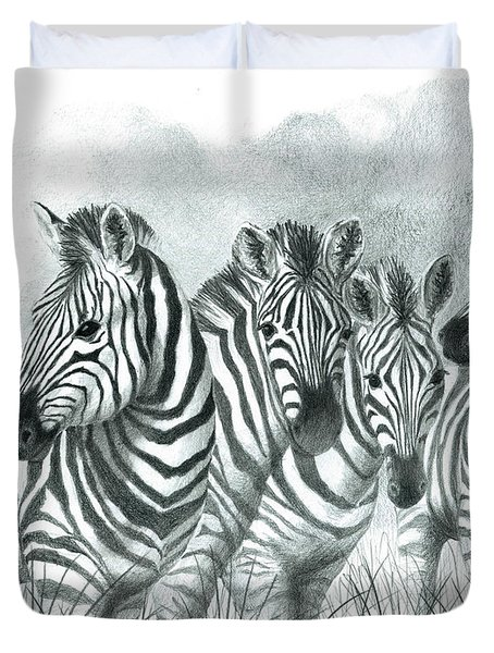 Zebra Quartet Duvet Cover