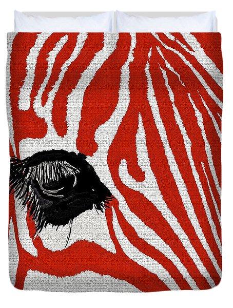 Zebra Red Duvet Cover