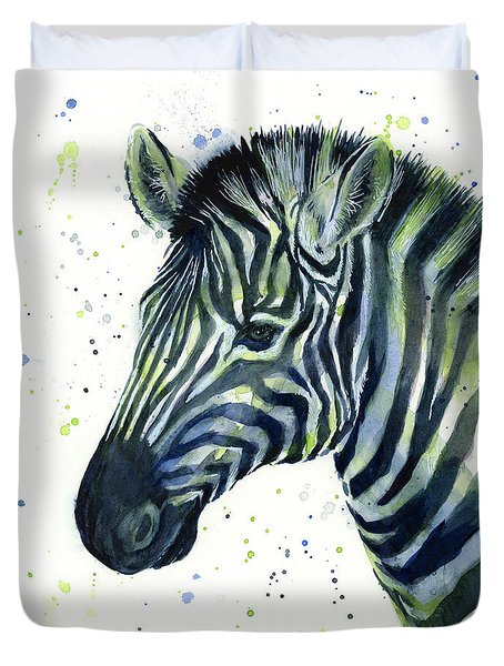 Zebra Watercolor Blue Green  Duvet Cover