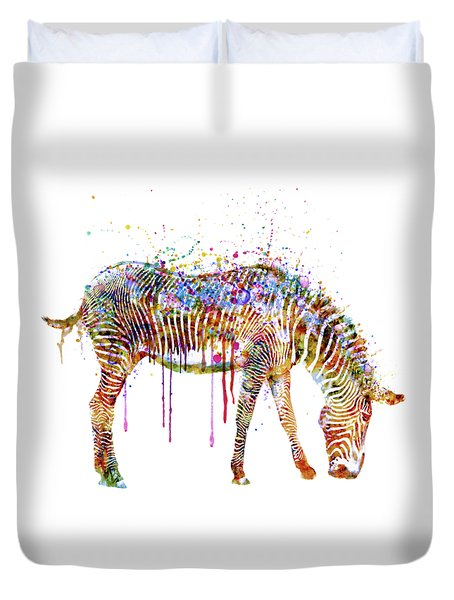 Zebra Watercolor Painting Duvet Cover
