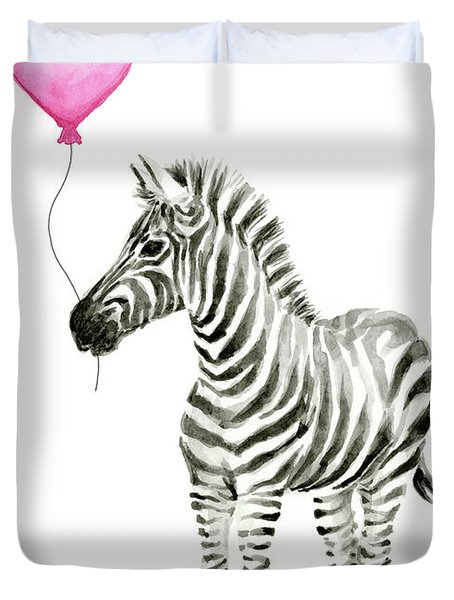 Zebra Watercolor Whimsical Animal With Balloon Duvet Cover